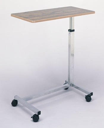 Overbed Table - # Table features an easy to clean wooden finish.Stainless steel chrome plated H-Base with locking 2'' casters. # Base and table dimension 30''x15'' # Height is adjustable from 28'' from the ground to 45'' from the ground
