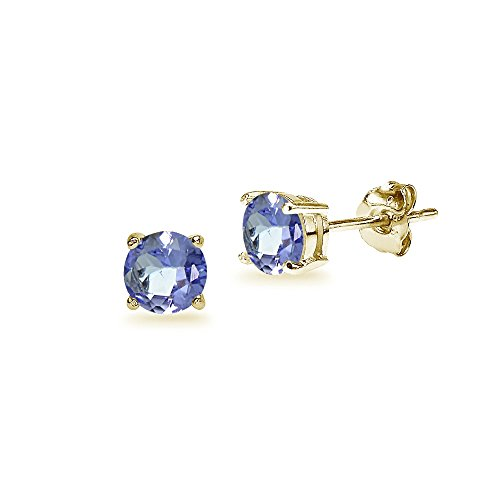 14K Yellow Gold Tanzanite 5mm Round Stud Earrings 14k Yellow Gold Tanzanite Earrings