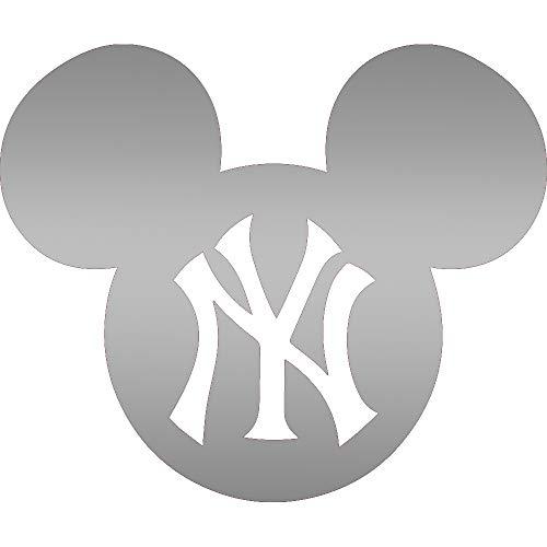 MLB NEW YORK YANKEES MICKEY DISNEY (METALLIC SILVER) (SET OF 2) PREMIUM WATERPROOF VINYL DECAL STICKERS FOR LAPTOP PHONE ACCESSORY HELMET CAR WINDOW BUMPER MUG TUBER CUP DOOR WALL DECORATION ()