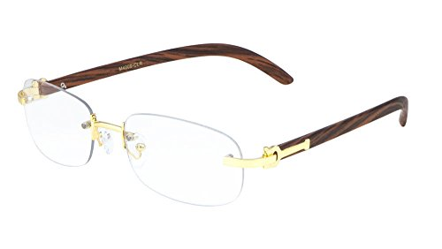 Dean Slim Rimless Metal & Wood Eyeglasses/Clear Lens Sunglasses - Frames (Gold & Cherry Wood, Clear) ()