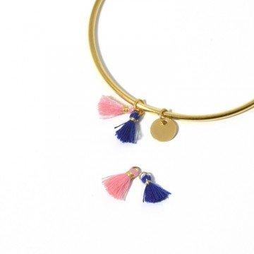 2Mini pompon Rosa e Blu 10mm–per gioielli, cucito o decorativo LaMercerieDesCopines