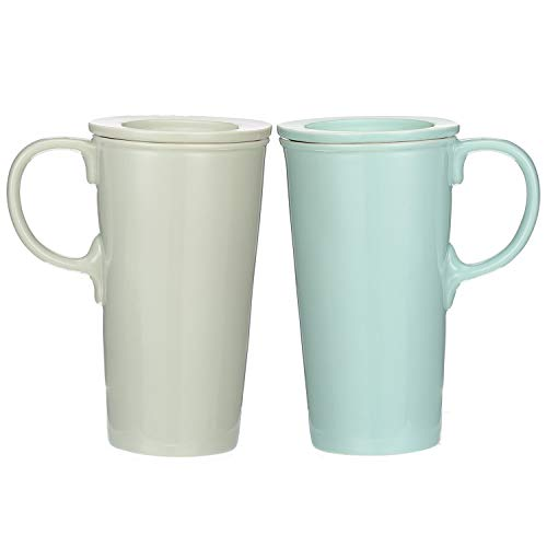 - Ceramic Latte Mug 15 oz. Double Wall Ceramic Coffee Cup with Lid, set of 2