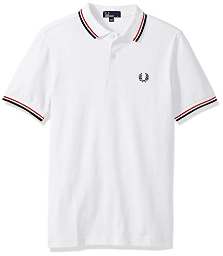 Fred Perry Men's Twin Tipped Polo Shirt-M3600, White/BrightRed/Navy, X-Large (Fred Pique White Perry)