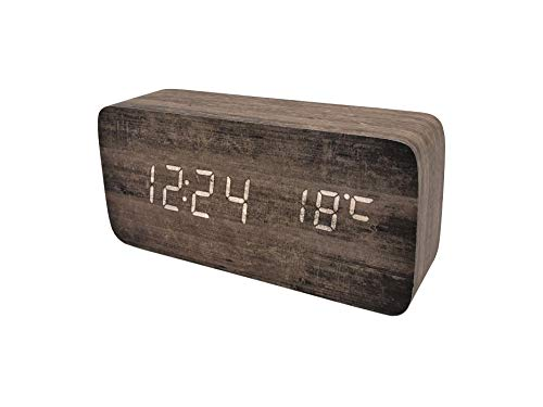 """Ytong Plank Wood Grain Pattern Wooden Digital Alarm Clock Multi-Functional LED Smart Alarm Clock USB Supply Sound Control Alarm Clock Office Decoration Digital Alarm Clock Student Alarm Clock - Wooden Digital Alarm Clock: A multi-function digital alarm clock that displays time, date, temperature with bright and clear LED lights. Displays time in both 12h/24h format, and shows indoor temperature in both Celsius and Fahrenheit. Up to 3 alarms in a few-minute intervals to replace the snooze function, select different alarm types between daily alarm and weekday alarm, each alarm rings for 1 minute. Voice control function: Power saving mode Press the """"DOWN"""" button, press the down button and select """"ON: SD / --- SD"""" to turn the power saving mode on and off. Enter the sound control mode (power saving mode), the screen will turn off after 10 seconds, you can clap your hands (any sound greater than -60dBm) or click the clock to light up the screen. DUAL POWER SUPPLY: Works mainly on plugged in cable power or backed up by 4×AAA batteries (NOT included). Charging cable is included in the box. Cable compatible with all USB charger. Battery power best used for backup only. - clocks, bedroom-decor, bedroom - 31JXTF8qLEL -"""