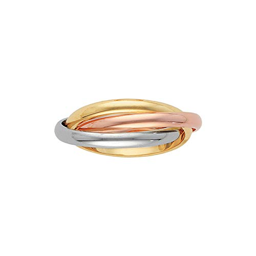 14K Tri Color Gold 3-Band Rolling Ring (Size-10)