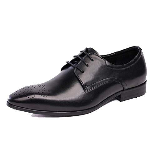 Scarpe da Uomo in Pelle Scarpe Stringate da Lavoro A Punta Stile Britannico Versione Europea Scarpe da Sposa Tendenza Black