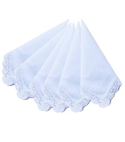 Ladies Bridal Wedding Crochet Lace Handkerchiefs 60s Cotton Hankies Size 11.8