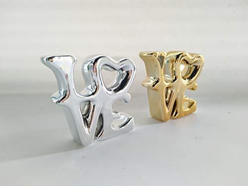 RenSiv Love Porcelain Figurine Free Standing Desk Shelf Home Office Decorative (Gold) ()