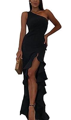 BTFBM 2018 Women's One Shoulder Split Bodycon Mermaid Evening Cocktail Long Dress