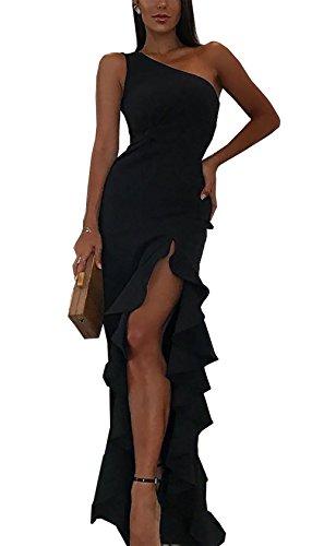 BTFBM 2018 Women's One Shoulder Split Bodycon Mermaid Evening Cocktail Long Dress (Black, Medium)