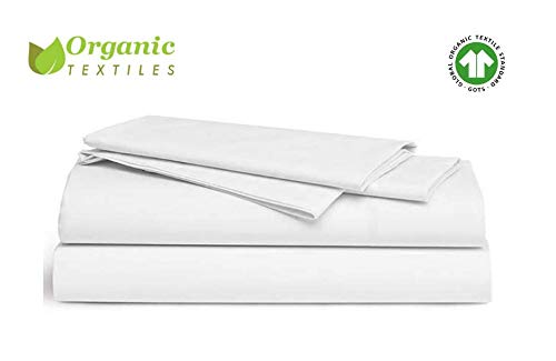 - OrganicTextiles Organic Bed Sheet Set [GOTS Certified Cotton] White, Queen Size. Soft and Hotel Luxurious, 350 Thread Count, Includes: 1 Flat Sheet, 1 Fitted Bed Sheet, 1 Pair of Matching Pillow Cases