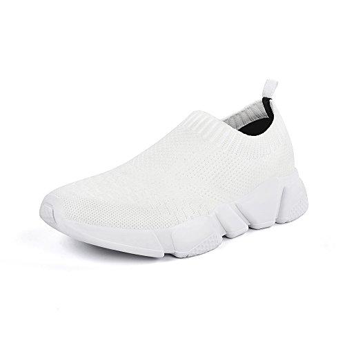 White Mesh Sneakers - Mxson Women's Slip On Sneaker Mesh Loafer Casual Beach Street Sports Walking Shoes, White, 7 B(M) US