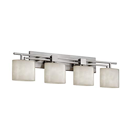Justice Design Group Clouds 4-Light Bath Bar - Brushed Nickel Finish with Clouds Resin Shade (Four Nickel Cloud Light Bath)