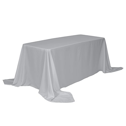 VEEYOO 90 x 132 inch Rectangular Solid Polyester Tablecloth for Wedding Restaurant Party Buffet Table, ()
