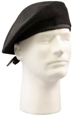 Rothco Gi Type Beret (Without Flash), Black, Size 7.5