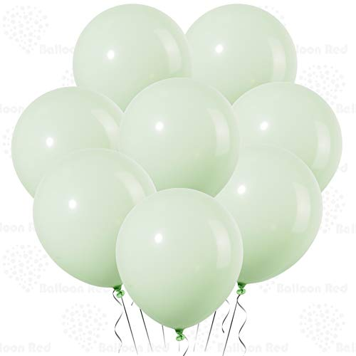 Baby Green 10 Inch Pastel Color Thickened Latex Balloons, Pack of 100, Premium Helium Quality for Wedding Bridal Baby Shower Birthday Party Decorations Supplies Ballon Baloon Thinken -