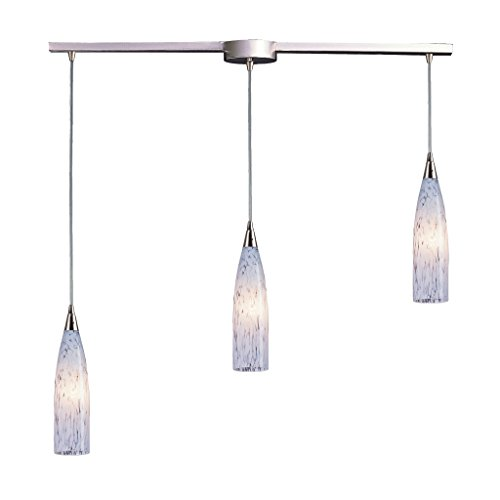 Lungo Three Pendant Light - 3 Light Pendant In Satin Nickel And Snow White Glass