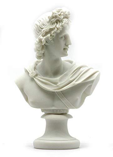 (Apollo God of Music & Light Alabaster Bust Head Statue Sculpture)