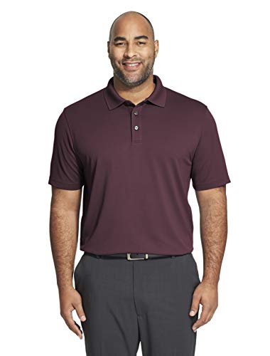 Van Heusen Men's Big and Tall Short Sleeve Air Performance Ottoman Stripe Polo Shirt, purple plum noir, 2X-Large Big