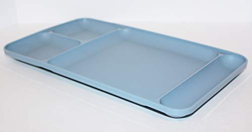 Tupperware Vintage Country Blue Divided Cafeteria Style Dining Tray