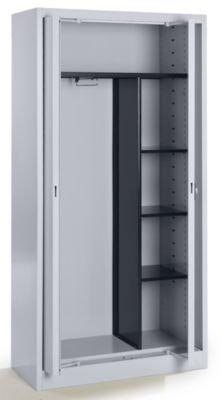 Mauser Stahlschrank mit Einschwenktüren - Garderobe, 3 kurze Fachböden, Tiefe 420 mm weißaluminium - Aktenschrank Archivierschrank Archivierschränke Büroschrank Einschwenktürenschrank Einschwenktürenschränke Einschwenktürschrank Einschwenktürschränke