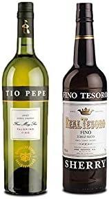 Vino palomino Fino Tío Pepe de 75 cl y Vino Fino Tesoro de 75 cl - Mezclanza Exclusiva
