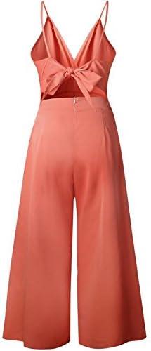 Hilization Womens Solid Spaghetti Straps Backless Wide Leg Romper Jumpsuits