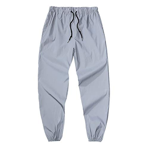 Pants for Men Casual Elastic Waist Relaxed-fit Long Trouser Reflective Lightweight Quick Dry Sweatpants Gray