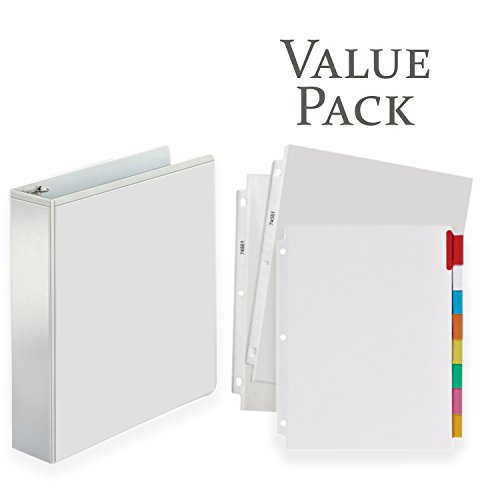 3-Ring Binder, Presentation View Binders - With 20 Top-Loading Poly Clear Sheet Protectors - and Big Tab Insertable Extra Wide Dividers, 8 Multi-color Tabs - VALUE PACK (2 Inch, (Extra Wide Big Tab Divider)