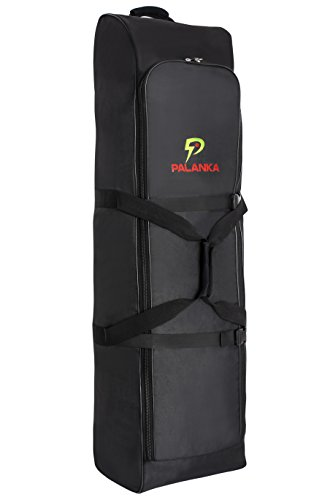 - PALANKA Golf Bag Travel Cover with Built-in Wheels (Black) Heavy Duty Protective Fabric | Padded Top Club Head Coverage | Top Handle, Zippered Pockets, ID Tag