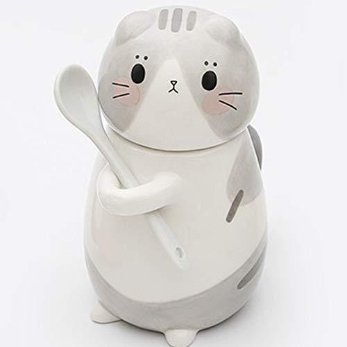 アニマルセラミックカップ 9.3オンス (275ml) コーヒーカップ かわいい猫マグカップ 蓋とスプーン付き ギフトに最適 B0028  Gray Abu B07QHTX34K