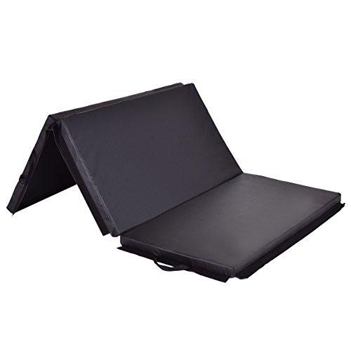 Giantex 6' x 4' Tri-Fold Gymnastics Mat Thick Folding Panel For Gym Fitness Exercise (Black)