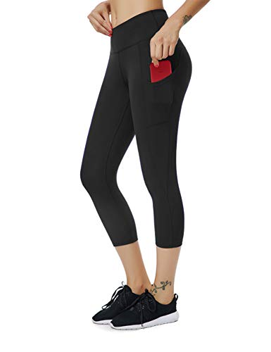 ALONG FIT Yoga Pants for Women with Cell Phone Pockets Compression Workout Leggings Tummy Control Yoga Shorts Capris