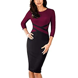 HOMEYEE Women's Vintage Round Neck 3/4 Sleeve Striped Bodycon Pencil Business Casual Dress B463