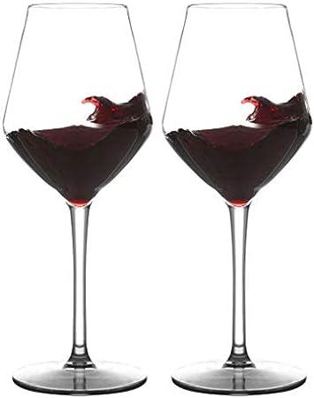 COOKY.D Vasos de vino de plástico Tritan-rojo burdeos de 445 ml, irrompibles con tallo largo para fiestas, cumpleaños, aptas para lavavajillas, sin BPA, juego de 2