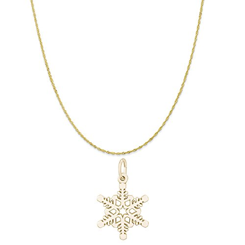 Rembrandt Charms 10K Yellow Gold Winter Snowflake Charm on a Twist Curb Chain Necklace, ()
