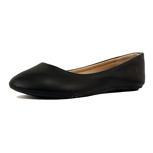 Guilty Shoes Womens Classic Round Toe Basic Comfort Ballet Ballerina Walking Flats Shoes, 05 Black PU, 7