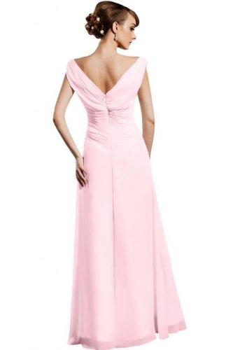 Sleeveless V Dearta Neck Women's Length Pink Line Prom A Floor Chiffon Dresses FOCAnxqOw