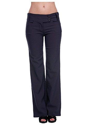 G2 Chic Women's Solid Millennium Sleek Office Dress Pants  Small  Navy-A4 (Belted Tweed Belt)
