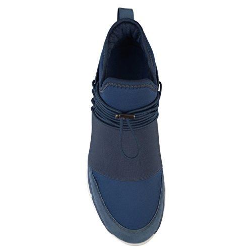 Territorio Mens Stamos Vera Pelle Scamosciata Elastico In Pizzo Rapido Casual Sneakers Athleisure Blu