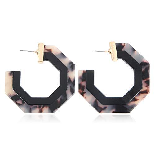 Lightweight Multi Color Acetate Hoop Earrings - Mottled Resin Geometric Statement Leopard Round Circle/Animal Disc Threader/Tortoise Leaf/Marbled (Octagon Two-tone - Black, ()