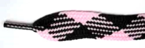 FootGalaxy High Quality Fat Laces For Boots And Shoes, 54, Pink-Black-Argyle (Argyle Lace)
