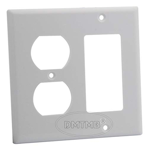 Maxmoral 1pc Duplex Receptacle Outlet Combination Switch Wall Plate Standard Size Device Mount 2 Gang Opening ()