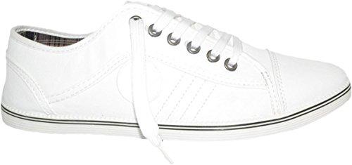 Elara Herren Sneakers | Sportliche Low Top | Turnschuhe Freizeit Schnürer Weiß