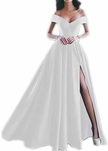 7161a2e95770 Ci-ONE High Slit Wedding Dress Off Shoulder Prom Dresses Floor Length