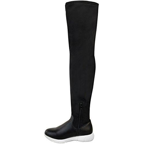 Sneaker Elastico Tacco Alto Da Donna In Pelle Con Tacco Alto In Lycra Nero / Suola Bianca