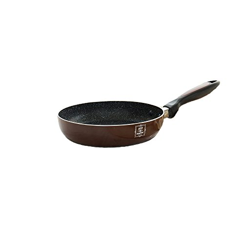 Ceramic Non Stick Stir Fry Pan Coating Wok Pan With Induction Compatible Bottom ( 8 inch Diameter, Burgundy )