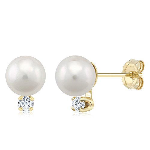 5pts Diamond Accent Cultured Akoya Pearl Stud Earrings Set In 14K Yellow Gold by Gem Stone King