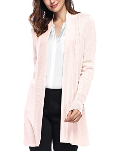 Spicy Sandia Open Front Knit Cardigans for Women Lightweight Cover-up Long Sleeve Cardigan Sweaters, Pink, Large