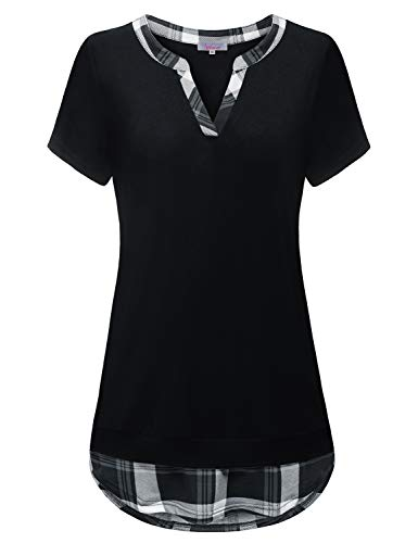 Tunic Shirts for Women to wear with Leggings, Mandarin Vneck Patchwork Aline Tunic Short Sleeve Unique Buffalo Plaid Blouse Fit-Flare Vibrant Tops Soft Surroundings Country Clothes Black XX-Large